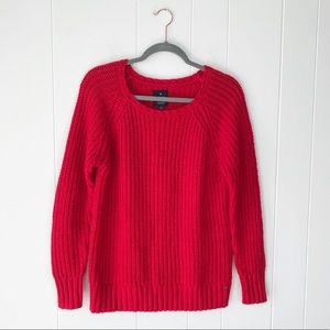 American Eagle Red Chunky Knit Jegging Sweater M